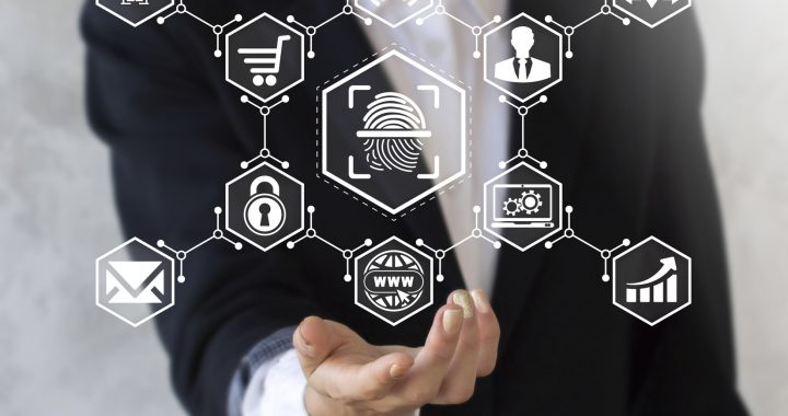 Businessman offers his hand in icon fingerprint. Business woman present business concept security biometric thumbprint sign. Safety protection authentication authorization shopping iot symbol.